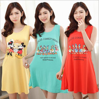 Hot 2015 Women's fashion Cozy sleepwear Breathable Short sleeve Nightgowns Cartoon characters printing Elasticity Home Suit