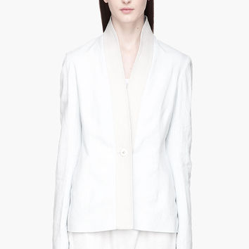 Damir Doma Pale Blue Jaraqui Quilted Leather Collar Jacket