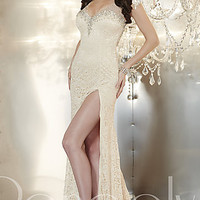 Long V-Neck Lace Formal Gown by Panoply