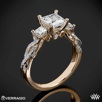 20k Rose Verragio Twisted Shank Princess 3 Stone Engagement Ring