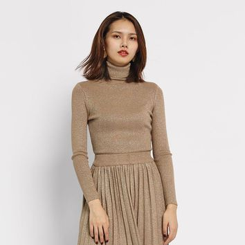 women lurex turtleneck pullover knit top shiner basic winter bodycon bling big elastic long sleeve lady casual wear femme mujer