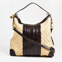 "Gucci Tan GG Logo Canvas Brown Crocodile Leather ""Secret Medium Hobo"" Bag"