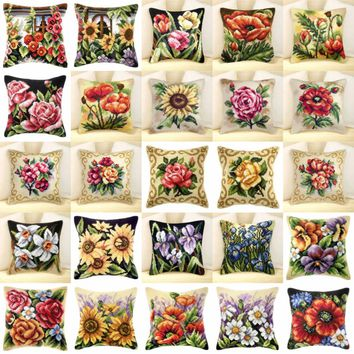 flowers 04  NEW DIY Needlework Kit  Acrylic Yarn Embroidery Pillow Tapestry Canvas Cushion Front Cross Stitch Pillowcase JCS