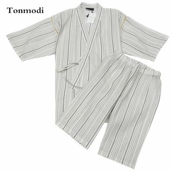 Kimono Pajamas For Men 100% Cotton Woven Cloth Kimono Robe Short-sleeve Shorts Pajamas Set