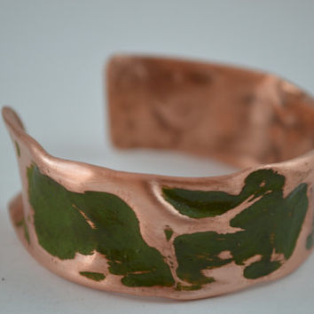 Green Patina Rustic Copper Cuff, Rustic Jewelry, Rustic Copper Bracelet, Rustic Cuff Bangle, Copper Cuff, Copper Jewelry, Adjustable Cuff