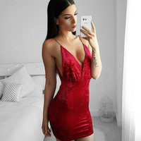 Short Velvet Party Dress