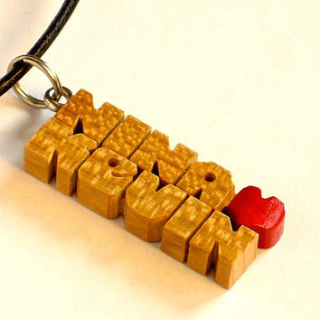Love Pendant with Cord - Cherry Wood Names - Handmade to Order