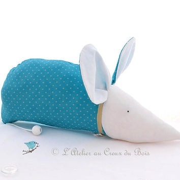 Musical mobile for nursery : turquoise mouse Angelique by L Atelier au Creux du Bois