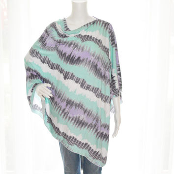 Pastel Tie Dye Poncho/ Nursing Poncho / Nursing Cover/ Lightweight Shawl/ One shoulder tunic top / Boho Top / Versatile style / New Mom Gift