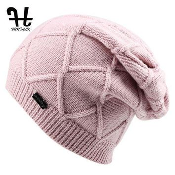 CREYONV FURTALK Wool Cashmere Autumn Winter Women Hat Knit Skullies Beanies Hats for Girls Female