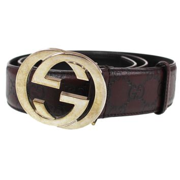 GUCCI GG Supreme Buckle Silver Belt 35 Brown Leather Italy Vintage Auth #P476 M