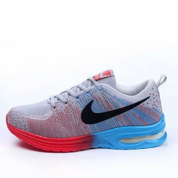 """NIKE"" Trending Fashion Air cushion of screen couple Casual Sports Shoes Blue-red"