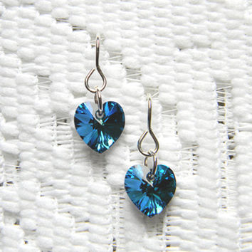 Swarovski Heart Charm Bermuda Blue Earrings 10mm - 1 pair