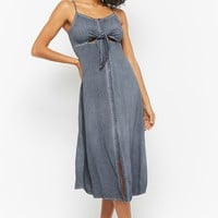 Mineral Wash Tie-Front Midi Dress