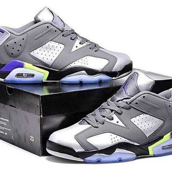 DCCKIJ2 Womens Mens Air Jordan 6 Retro Low Basketball Shoes Grey  Silver
