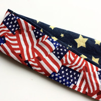 Patriotic Headband for Women - Reversible Headband for 4th of July - Stars and Stripes Cotton Fabric Head Band for Girls - Navy Headband