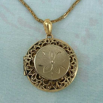 Locket Pendant Necklace Embossed Floral Design Filigree Jewelry