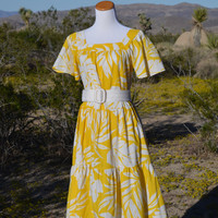 Vintage 1960s Canary Yellow & White Tiered Dress with Flutter Sleeves