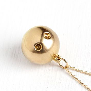 Squash Ball Necklace - 1970s Retro Era 10k Rosy Yellow Solid Gold Pendant Charm - Vintage Tennis Racket Rubber Ball Sports Fine Jewelry