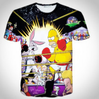Plus Size Summer Style Men's Print 3D Character Cartoon Rabbit Short Sleeve T-shirts [10312514819]