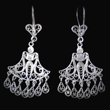Sterling Silver Filigree Boho Chandelier Earrings, Made in Turkey