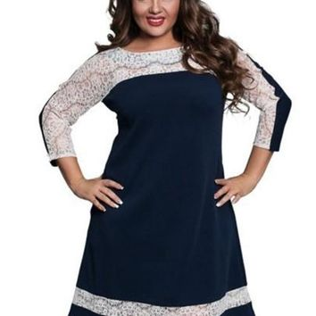 Plus Size Lace Patchwork 3/4 Sleeve Women's Day Dress