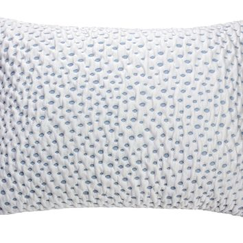 Stretch Knit Fabric Upholstered Kids Pillow With Memory Foam, Blue & White -DM183