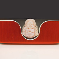 1PC Natural Pink Shell Carved Sitting Buddha Cell Phone Home Button Sticker Charm for iPhone 4,4s,4g,5,5c