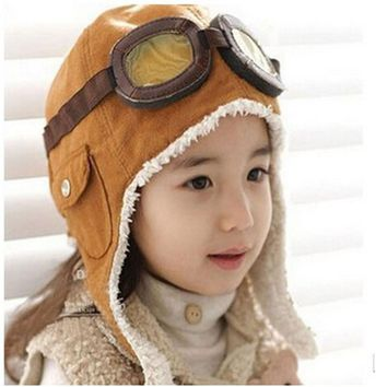 2016 Toddlers Warm Cap Hat Beanie Cool Baby Boy Girl Kids Infant Winter Pilot Cap 2 Colors