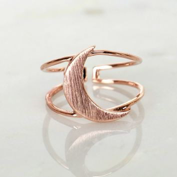 Double Bar Crescent Ring Rose Gold