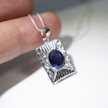 Natural Tanzanite Necklace - Sterling Silver Genuine Tanzanite Rectangle Pendant