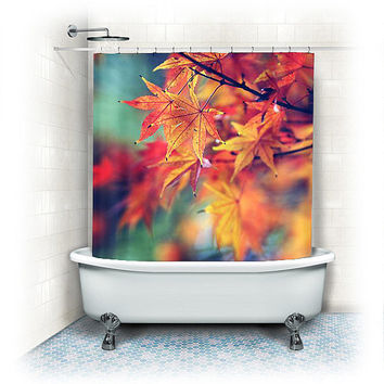 "Fabric Shower Curtain ""Fall Leaves"" orange,yellow,red,aqua,bathroom, home decor,bath,nature,colorful,fall decor,autumn home decor"