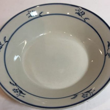 Brickoven Stoneware Scandia Blue Tung Guan 4 Soup/Cereal Bowl Blue Flower & Trim