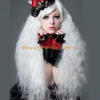 free Shipping Fashion Girl women lady girl Lolita Popular fluffy long curly white Cosplay wig