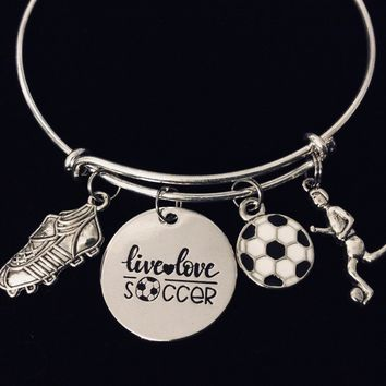 Live Love Soccer Expandable Charm Bracelet Silver Adjustable Bangle Sports Jewelry Soccer Ball Cleats One Size Fits All Gift