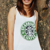 Starbucks Coffee - Tank Top lady Tunic TShirt  Starbucks Logo shirt  Singlet  Cute T-Shirt size S