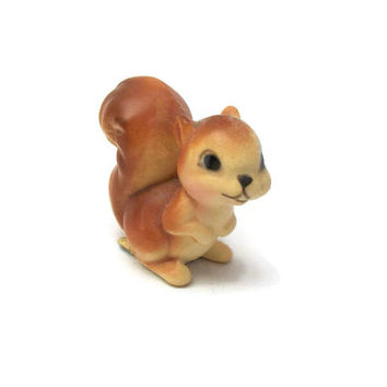 Vintage 1950s Made in Japan Squirrel Miniature Porcelain Figurine - Tiny Cute Brown Squirrel Animal Mid Century Knick Knack Collectible
