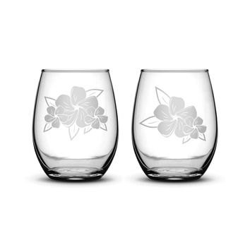 Premium Wine Glasses, Plumerias With Leaves, 15oz (Set of 2)
