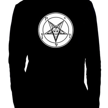 Solid White Inverted Pentagram Sabbatic Goat Men's Long Sleeve T-Shirt Black Metal