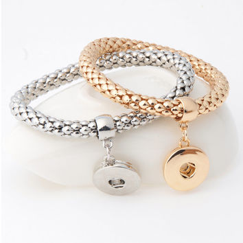 Fashion Ginger Snap Bracelet Elastic Snake Chain Bracelet Bangles fit 18MM snap buttons Women Unisex Jewelry B381