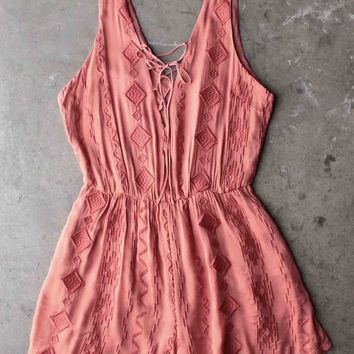 LUSH - lace embroidered romper - rust