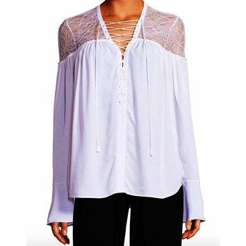Yigal Azrouel Lace-Yoke Silk Georgette Tie-Front Blouse