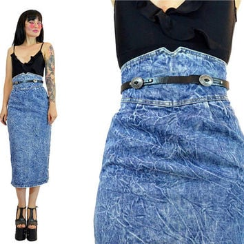 Vintage 80s Acid Washed Denim Skirt Super High Waisted Cumberbund Jean Maxi Bodycon Light
