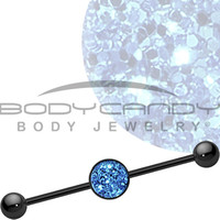 Island Blue Glitter Industrial Barbell | Body Candy Body Jewelry