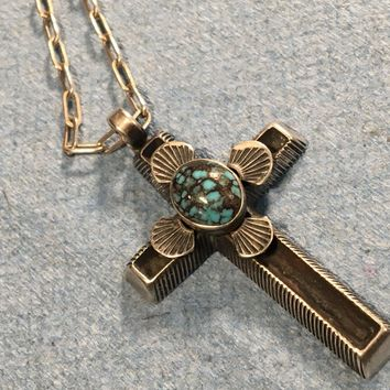 Robert Chee Signed Candelaria Turquoise Sterling Silver Cross Necklace