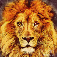 Lion Of Africa Mixed Media by Zeana Romanovna - Lion Of Africa Fine Art Prints and Posters for Sale