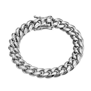 Men's Designer Stainless Steel 14k White Gold Finish 8mm Miami Cuban Link Bracelet New