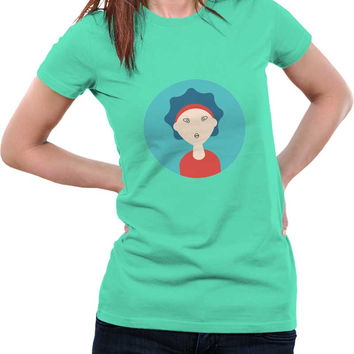 Curly Hair For Women Illustration Character Woman T-Shirt