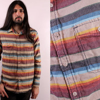 Vintage 90s - Southwestern Stripe - Button Up Collar - Fitted Flannel Mens Shirt