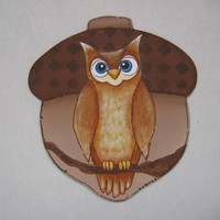 Owl and Acorn Tole Painted Magnet